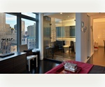 Furnished 1 Bedroom in FiDi with views of One Freedom Tower and Hudson Rivers. Live on a High Floor with Condo Finishes.